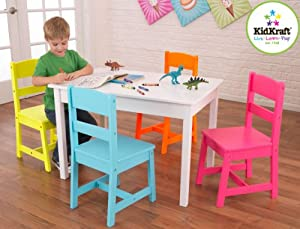 Kids' Room Furniture Set of White Table & 4 Bright Multi-Colored Chairs from Generic Manufacturer
