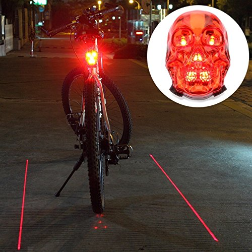 Candance Skull Style High Intensity 7 LEDs Laser Tail Light for Mountain Bike Bicycle Cycling Water Resistant Rear Lights Bicycle Cycling Water Resistant MTB Rear Lights/Laser generated bike lane