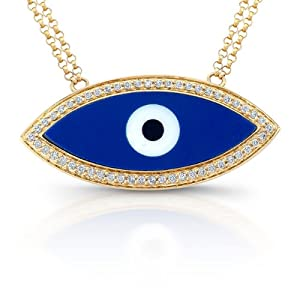 Victoria Kay 14k Yellow Gold Dark Blue Enamel Evil Eye Diamond Necklace (1/5cttw, J, I2)