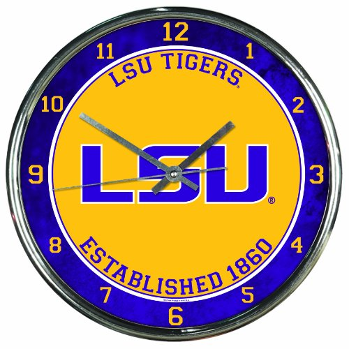 NCAA LSU Fightin Tigers Chrome Clock