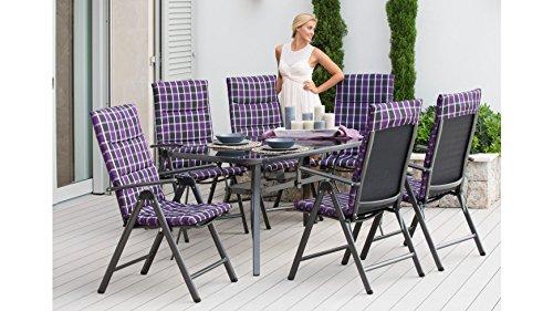 baumarkt-direkt-13-tlg-Gartenmbelset-Rgen-6-Sessel-Auflagen-Tisch-150-x-85-cm-AluTextil-schwarz-lila-schwarz