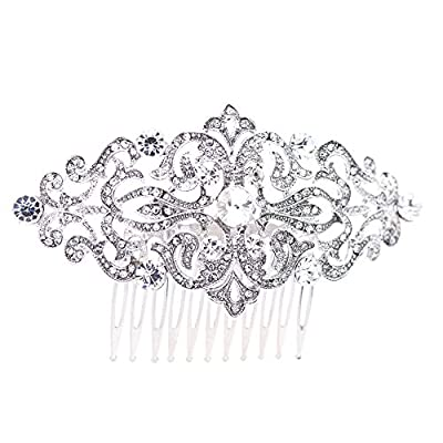 Vintage Hair Comb CLear Rhinestone Hairpins for Bridal or Women Wedding Hair Accessories Jewelry with Swarovski Crystals 1456R