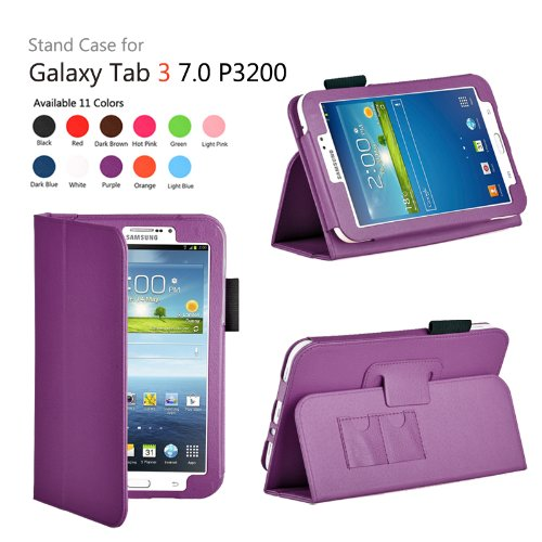 onWay(TM) Slim Fit Leather Case Cover for Samsung Galaxy Tab 3 7.0 inch Tablet (SM-T210/GT-P3200/P3210) + Gift: stylus touch pen x1 (PURPLE Color)
