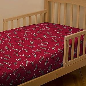 Red Sock Monkey Toddler Sheet Bottom Fitted