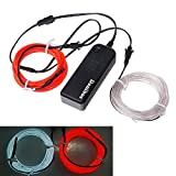 El Wire, Danibos 10 Feet 2 Line Glow Wire Rope Tube Car Bar Dance Party Transparent + Controller (White+red)