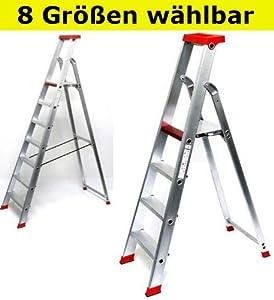Alu Stehleiter PRO Serie  8 Größen wählbar (3 bis 12stufig), 4stufig  BaumarktÜberprüfung und weitere Informationen