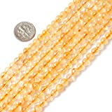 6mm round gemstone natural citrine beads strand 15""