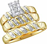 Men's Ladies 10k Yellow and White Gold .1 Ct Round Cut Diamond His Her Engagement Wedding Bridal Ring Set (ladies size 7, men size 10; message us for more sizes)