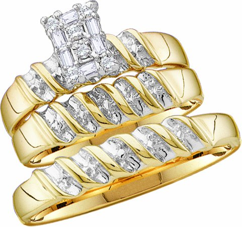 Affordable men39s ladies 10k yellow and white gold 1 ct for Low cost wedding ring sets