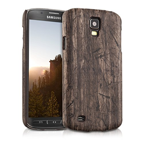kwmobile Hard case Design vintage wood for Samsung Galaxy S4 Active in dark brown (Samsung Galaxy S4 Case With Lid compare prices)