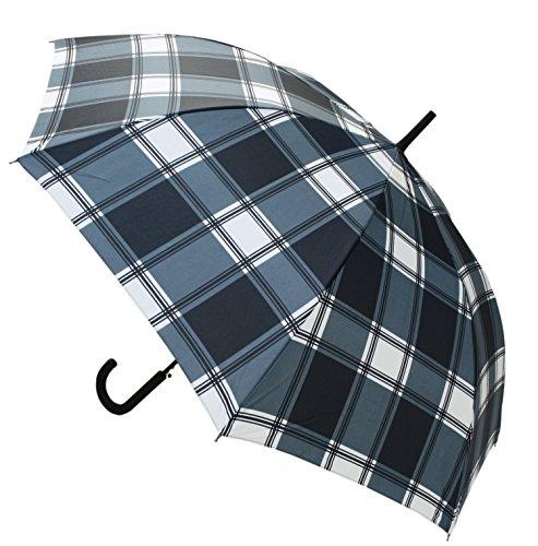 【晴雨兼用】 長傘 ジャンプ傘 ネイビーチェック 65cm MSL-005