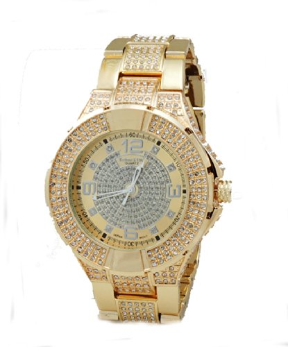 Gold Tone White Crystals 3-Tone Dial Hip-Hop Cz-Ice Bling Clubbin' Bullets 3-Row Czs