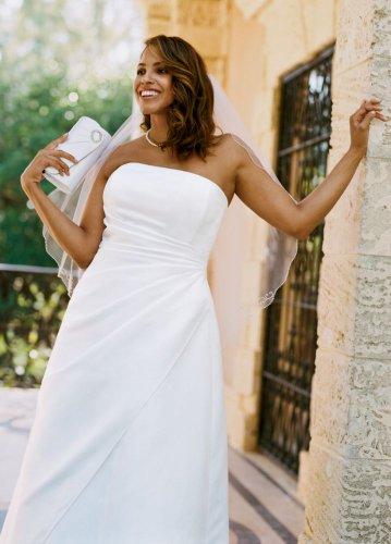 David's Bridal Woman Wedding Dress: Satin A-line with Asymmetrical Skirt Style 9T8076, White, 24W