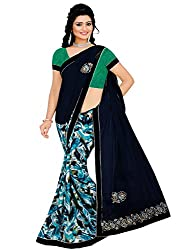 Tarang Women's Designer Georgette Embroidered Bollywood Saree with Blouse (Dark Blue)