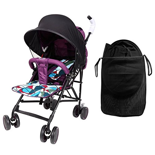 Easy Fit Universal Stroller Canopy Extender Large and Compact Sun Shade in Black by Luvit