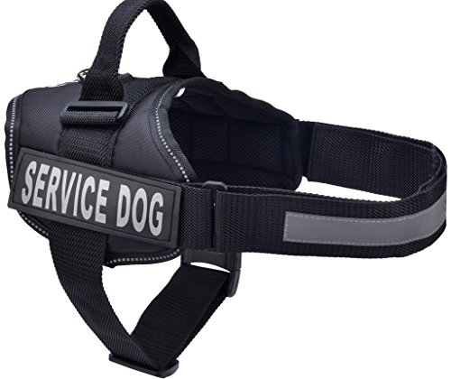 BINGPET Nylon Comfort Reflective Service Dog Harness Adjustable Vest Come With 2 Removable Patches , Small Black (Black Service Dog Vest compare prices)