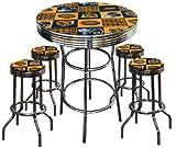 Chicago Bears Football Glass Top Chrome Bar Pub Table Set With 4 Swivel Bar Stools