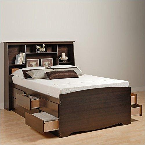 Prepac Manhattan Tall Twin Bookcase Platform Storage Bed in Espresso Finish