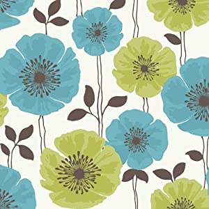 Fine Decor Poppie Designer Feature Wallpaper lime / teal
