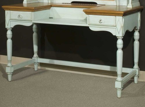 Vanity Desk by Broyhill - Two-tone Finish:Medium Stain Soft Blue (6720-381)