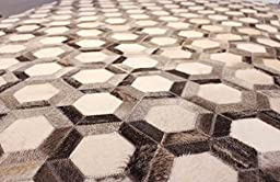 Hand-stitched Natural Cowhide Leather Rug \'Beehive\' (6\'x8\' (180cm x 240cm) XL Area Rug)