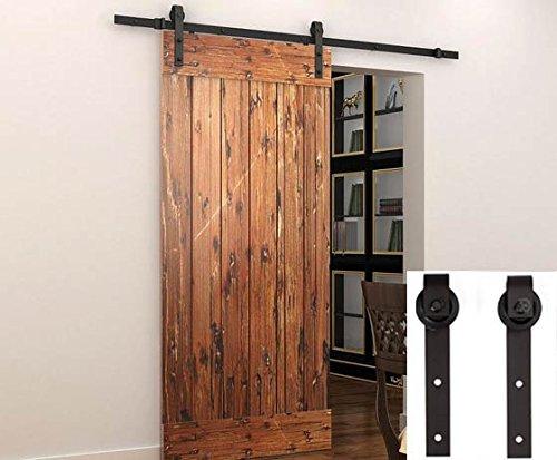 Wbhome sliding barn door hardware set black 6 6 ft for Antique sliding barn door hardware