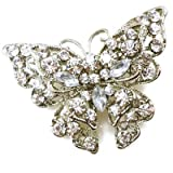Brooches Store Silver & Clear Crystal Butterfly Brooch- Gift Boxed