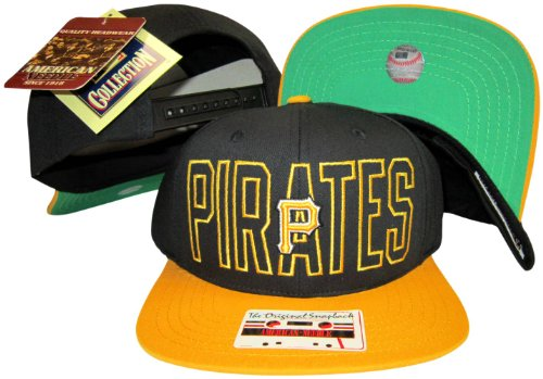 Pittsburgh Pirates Black/Gold Two Tone Plastic Snapback Adjustable Snap Back Hat / Cap