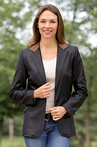 Ivy Silk Lambskin Leather Blazer, BLACK/CURRY, Size 10