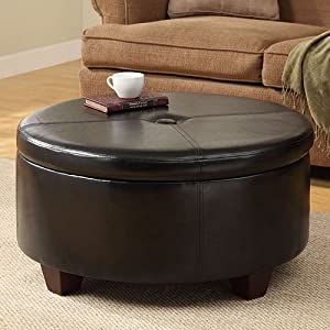 Round Leather Storage Ottoman Converts Tabletop Coffee Cocktail Table To Seat Ebay