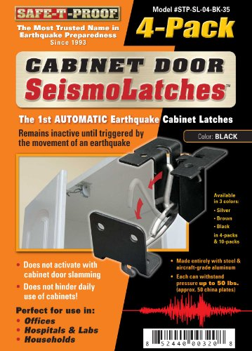Seismolatch Automatic Earthquake Activated Cabinet Latch, Black, 4-Pack front-16388