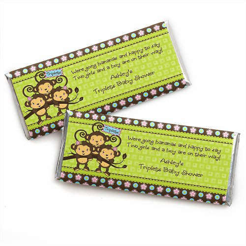 Triplet Monkeys 2 Girls & 1 Boy - Personalized Baby Shower Candy Bar Wrapper Favors front-728040