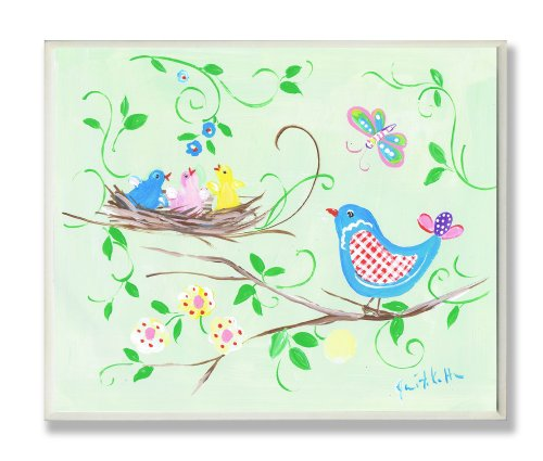 The Kids Room by Stupell Blue Bird and Birds in Nest Rectangle Wall Plaque