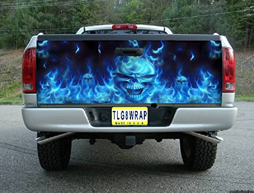 T13 FLAMING SKULL SKULLS BLUE TAILGATE WRAP Vinyl Graphic Decal Sticker F150 F250 F350 Ram Silverado Sierra Tundra Ranger Frontier Titan Tacoma 1500 2500 3500 Bed Cover tint image (F250 Fender Decals compare prices)