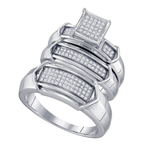 Sterling Silver 1/3 ct. Diamond Trio Engagement Set