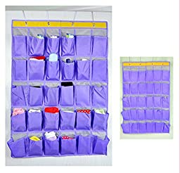 Racheljp Over the Door Foldable Hanging Wall Organizer 30 Pockets Overdoor Canvas Fabric Collapsible File Jewelry Organizer Phone Storage Bag Document Bag