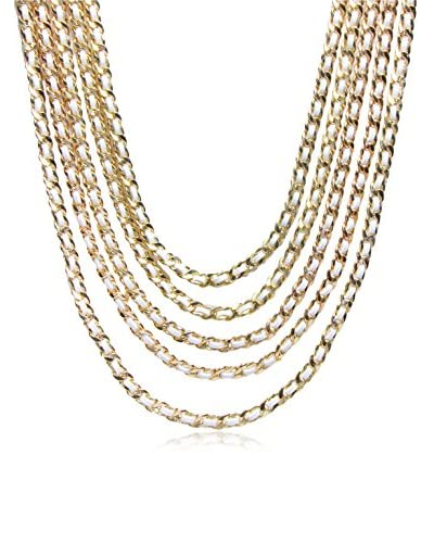 Saachi White Gold Layered Chain Leather Necklace