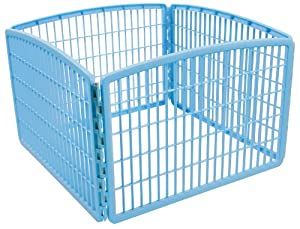 IRIS Plastic Exercise/Containment Pet Pen, 4 Panels, Blue