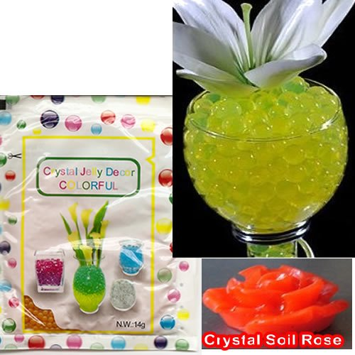 Crystal Jell Decor Colorful Beads 14gr. pkg. Golden Yellow Color; + Includes (1) crystal soil rose figurine