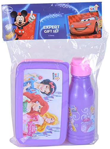 Combo Of SKI Plastic Lunch Box And Water Bottle For Kids, 3 Pieces