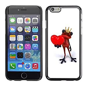 Omega Covers - Snap on Hard Back Case Cover Shell FOR Iphone 6/6S (4.7 INCH) - King Crown White Frog Love Minimalist