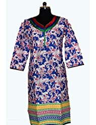Visaga Women's Cotton Straight Kurti - B00UMWEVM4