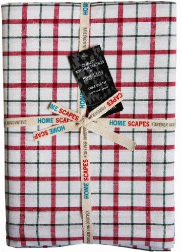 Homescapes Tischdecke Weihnachten Gingham Karo rot grün weiß 140 x 180 cm, 100% reine Baumwolle