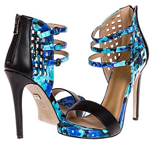 74155e63e09a V1969 Italia Womens Designer Shoes Melita Pumps by VERSACE 19.69  ABBIGLIAMENTO SPORTIVO SRL (Bluefloral)