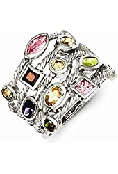 Sterling Silver Multi-Color Multi-Shaped Oval Marquise Gem 5-Strand Ring