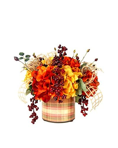 Creative Displays Red & Gold Hydrangea with Burgundy Berries in Vintage Plaid Label Glass, Red/Gold/...
