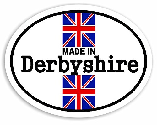 Made In Derbyshire - Union Jack British Flag Auto Adesivi / Sticker For Car Bike Van Camper Decal Bumper Sign
