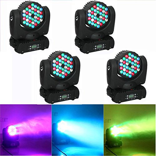 Yiscor Stage Lighting Led Par Light Spot Beam 108W 36Leds Rgbw (4In1) Dmx512 Moving Head For Home Garden Xmas Christmas Birthday Party Dj Disco Club Effect (Pack Of 4)