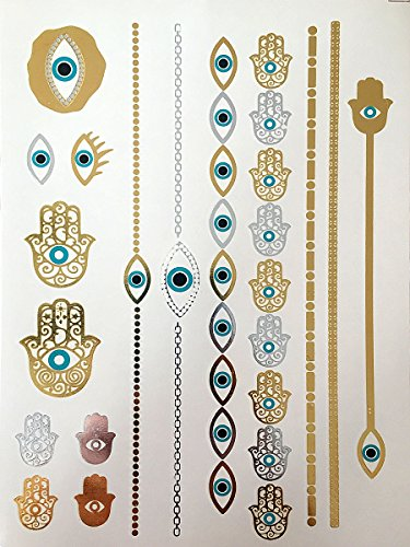 10-Sheets-Modern-Boho-Metallic-Tattoos-Flash-GoldSilver-Ultimate-Collection
