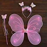 Infinxt Fairy Butterfly Wings Costume For Baby Girl Angel Birthday Party Pink